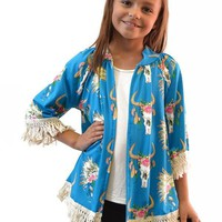 Kids Cow Skull Kimono with Fringe Sleeves - 2 colors