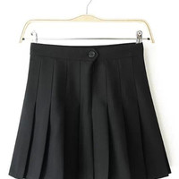 Zipper Front Pleated Mini Skirt