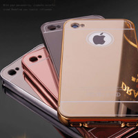 Gold Plating Aluminum Case For iPhone 4 4S iPhone4 Metal Frame Shiny Mirror Acrylic PC Back Cover Coque Anti-knock Hybrid Fundas