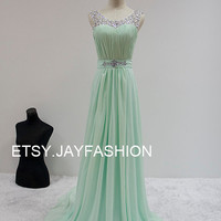 Mint Green Chiffon Simple Bridesmaid prom Dress V Back Sheer Beading Neckline A-line long Prom Dresses with Lace-up - Bridesmaid Dresses