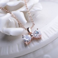 Sparkly Bow Heart Short Chain Necklace