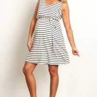 White-Striped-Sash-Tie-Draped-Back-Maternity-Dress