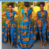 Blue Ethnic Crop Top with Dress Pants
