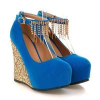 Sparkly Wedged Heel Party Shoe