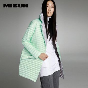 MISUN winter jacket women asymmetric length mantle type cocoon thin light single breasted long-sleeve outwear down coat & parkas