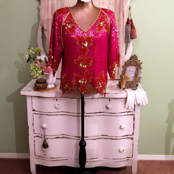 Very Ornate Sequined Top, Pink Red Sequin Top, Fancy Evening Blouse, Beaded Top, Unique Trophy Top, Bohemian Gypsy Party Blouse, Size Large