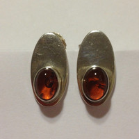 Taxco Amber Sterling Earrings Descorcia Mexico 925 Silver Honey Vintage Southwestern Jewelry Christmas Birthday Holiday Anniversary Gift