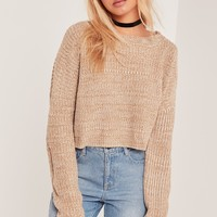 Missguided - Slouchy Cropped Jumper Camel