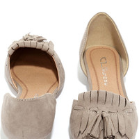 Chinese Laundry Seline Dark Taupe Suede D'Orsay Flats