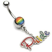 "Rainbow Gay Pride Epoxy Navel Belly Button Ring with Dangle - 14GA 3/8"" Long (Sold Ind.)"