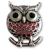 Pink Rhinestone Owl Snap 20mm for Snap Charm Jewelry