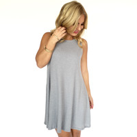 Never Too Late Shift Dress In Grey