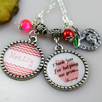 Teachers Necklace,Personalized teacher Gifts, Red Chevron,initials,Teacher Birthday Gifts,Graduation Gifts