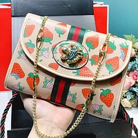 GUCCI New fashion strawberry print leather chain shoulder bag crossbody bag
