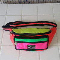90s Neon Fanny Pack Pouch Vintage Bum Bag Belt 80s 90s Festival The Fresh Prince of Bel-Air Coin Purse Rave Bag Pink Green Orange Yellow