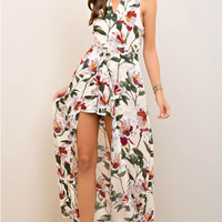 Floral Print Romper with Maxi Length Skirt