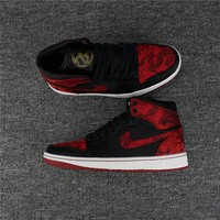 Air Jordan 1 Retro Black/Red Dragon Totem Basketball Shoe