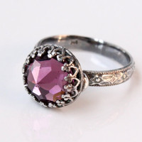 Silver ring with 10 mm Vintage Swarovski amethyst crystal, floral band, pink purple, February birthstone, stackable, gothic goth ring
