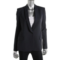 Theyskens Theory Womens Wool Long Sleeves One-Button Blazer