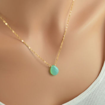 NEW Simple Gemstone Necklace, Chalcedony Jewelry, Bright Aqua Green Stone, Wire Wrapped, Gold Filled Cable Chain, Summer, Free Shipping