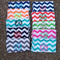 Monogrammed Cotton Chevron Infinity scarf--All Colors Restocked!