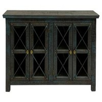 Mystic Blue and Gold Trim Four Door Chest with Leaded Glass Inserts - Blue - Stylecraft
