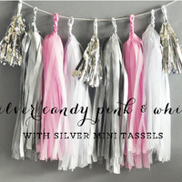 Pink and Grey Baby Shower Tassel Garland Wedding Pink and Gray Nursery Decor Its a Girl Baby Shower Banner DIY Tassel Garland Kit (EB3086)
