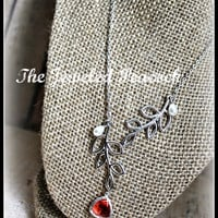 """LARIAT CORAL necklace, silver necklace, coral faceted pendant, teardrop, pearls, 16""""-18"""", birthday gift, womens jewelry, leaf, branch"""