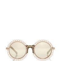 Gold Chantilly Edged Round Sunglasses