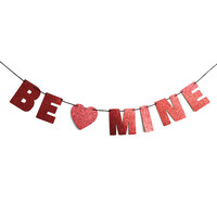 BE MINE Glitter Banner Wall Hanging - Valentines Day Decorations - Sparkly Red - Party Decoration - More colors available