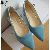 Woman Flats high quality suede Casual Comfortable pointed toe