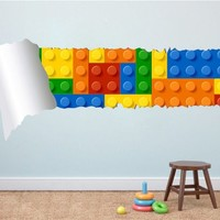 Bricks Effect Style Torn Wall Stickers , 59.1 x 25.6 Inches | 150 x 65 cm