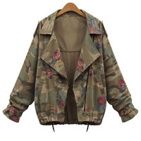 Camouflage Rose Print Long Sleeve Jacket