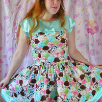 Ice cream dress mint pink strawberry chocolate retro cotton satin XL