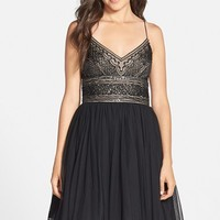 Women's Adrianna Papell Beaded Tulle Fit & Flare Dress
