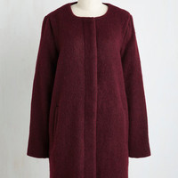 60s Long Long Sleeve Tender Loving Carriage Ride Coat in Wine Size M by BB Dakota from ModCloth
