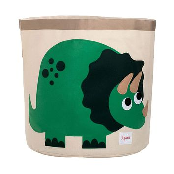 3 Sprouts Canvas Storage Bin - Laundry and Toy Basket for Baby and Kids, Dinosaur Dino