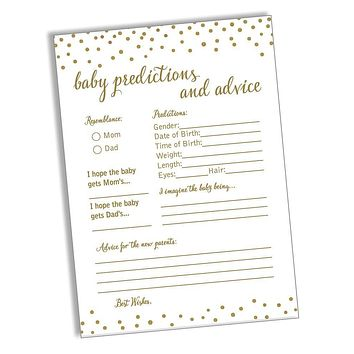 50 Baby Predictions and Advice - Gold Confetti - Baby Shower Game, New Mom & Dad Card or Mommy & Daddy to Be, Girl or Boy Babies New Parent Message Advice Book, Fun Gender Neutral Party (50-Cards)