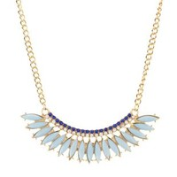 Lt Blue Fanned Faceted Stone Statement Necklace by Charlotte Russe