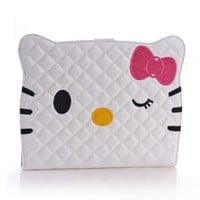 B.N.G New Arrival Pu Leather Sweet Bowknot Cat Soft Flip Case for Apple Ipad 2 Ipad 3 Ipad 4 With Stand +1 Small Gift (white)