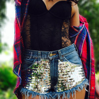 Sequin shorts Levi's High waisted denim shorts grunge hipster tumblr clothing by Jeansonly