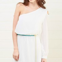 D3094 White Sheer Belted One Shoulder Dress and Shop Apparel at MakeMeChic.com