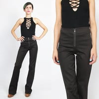 90s Flared Pants Bell Bottoms Vintage Brown Trousers 90s Brown Pants Zip Up Front Pants Rocker Mid Rise Fitted Womens Dress Pants (S/M)