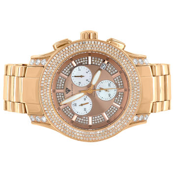 Rose Gold Tone Watch Aqua Master Stainless Steel 3.25 Ct Diamonds High End