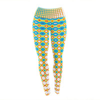 "Dawid Roc ""Psychedelic Art"" Yellow Blue Yoga Leggings"