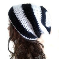Slouch Beanie - Mens or Unisex - Striped Beanie Hat - Black and White