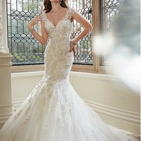 [236.99] Fabulous Tulle V-neck Neckline Mermaid Wedding Dresses with Beaded Lace Appliques - Dressilyme.com
