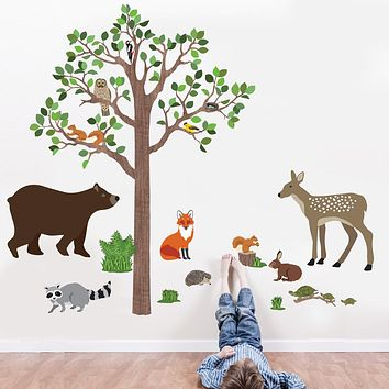 Large Woodland Animals with Tree Wall Decals, Removable Eco-Friendly Wall Stickers