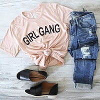 Distracted - Girl Gang Unisex T-Shirt in Peach/Black