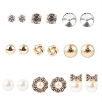 9 Pairs of Stud Earrings with Stones and Bows